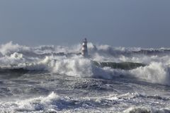 Rough sea with big waves Royalty Free Stock Image