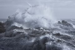 Rough sea on the coast. Rough sea on the rocky northern portuguese coast Stock Photos