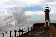 Rough sea day in Porto Royalty Free Stock Photos