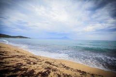 Rough sea dramatic sky. Rough sea , sand beach , dramatic sky Stock Photos