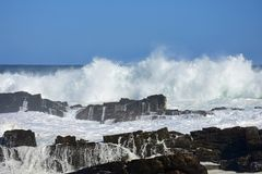 Rough Sea & High Waves, Tsitsikamma National Park, South Africa. Rough sea & high breaking waves in Tsitsikamma National Park, South Africa. Tsitsikamma National stock photo