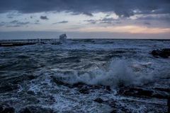 Rough sea at Mascagni Terrace Livorno Stock Images