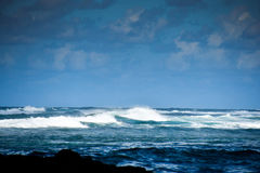 Rough sea in Mauritius, cyclone Stock Photography
