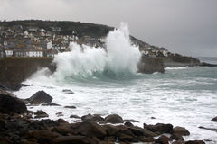 Rough sea at Mousehole Stock Images