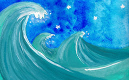 Rough sea at night. Painting about a blue rough sea with big waves under a deep blue starry sky Stock Image