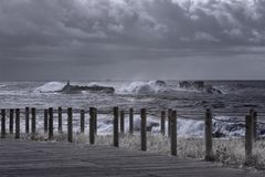 Rough sea in the coast. Rough sea. Northern portuguese rocky coast Royalty Free Stock Images
