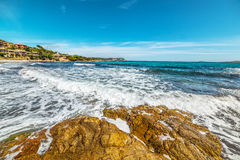 Rough sea in Piccolo Pevero beach Stock Photography
