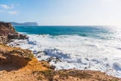 Rough sea in Porto Ferro coastline Royalty Free Stock Photos