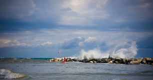 Rough sea in Romagna Stock Photography