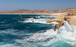 Rough sea at Sarakiniko shipwreck, Milos island, C Stock Image
