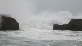 Rough sea during storm stock footage