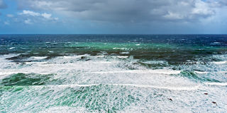 Rough sea with stormy weather stock images