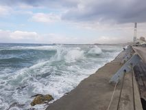 Rough sea in Tel-Aviv Israel Royalty Free Stock Images