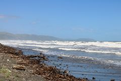 Rough sea on windy day, Raumati Beach New Zealand Royalty Free Stock Photos