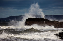 Rough Seas. At Holyhead Breakwater Isle of Anglesey North Wales UK Royalty Free Stock Photos