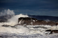 Rough Seas. At Holyhead Breakwater Isle of Anglesey North Wales UK Royalty Free Stock Image