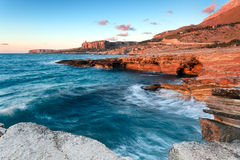 Rough seas along sicilian coast Stock Images