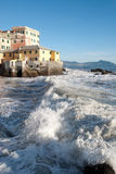 Rough seas in Boccadasse Stock Photo
