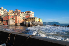 Rough seas in Boccadasse Stock Photography