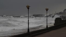 Rough seas at Bridlington, UK. stock footage