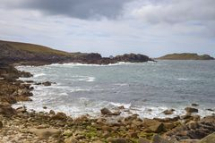 Rough seas at Hell Bay, Bryher, Isles of Scilly, England Royalty Free Stock Photo