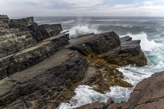 Rough seas and layered rocks at Mistaken Point