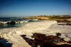 Rough seas off the coast of Hermanus. Rough stormy seas off the coast of Hermanus Royalty Free Stock Photos