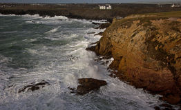 Rough seas at Rhoscolyn Headland. Isle of Anglesey North Wales Royalty Free Stock Photo