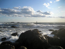 Rough Seas at Sakonnet Point Stock Images