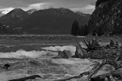 Rough seashore. Rough water at shoreline of Porteau Cove,  south of Squamish, British Columbia Stock Image