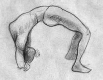 Rough sketch of a gymnastic pose. Hand drawn pencil sketch of a gymnaslic pose performed by a girl with a lissom body Royalty Free Stock Images