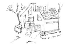 A rough sketch of a modern home. Sketch of the cottage in the country. Stock Images