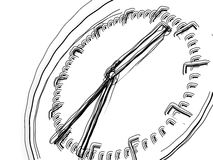 Rough sketch of watch face. Hand drawn illustration of watch face showing hour, minute and second hands on white background vector illustration