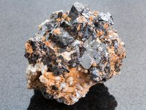 Rough Sphalerite with Galena stone on dark Stock Photos