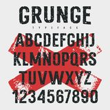 Grunge Font 009. Rough stamp typeface / Grunge textured font. Vector handmade alphabet. Stamp style uppercase letters and numbers. Vectors. Plus 2 grunge stock illustration