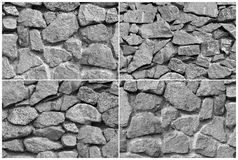 A rough stone. Black and white wall Stock Photography