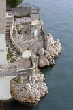 Stairs at Clif. Rough Stone Coast With Stairs to Adriatic Sea Stock Images