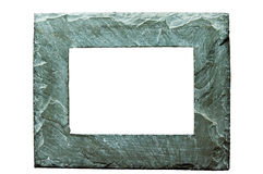 Rough stone picture frame on w Stock Images