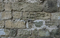 Rough stone wall with tool marks. Old castle wall detail of rough stonework Stock Photos