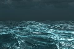 Rough stormy ocean under dark sky Stock Photography