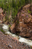 Rough stormy river in red rocky mountains Royalty Free Stock Photography