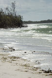 Rough surf on the beach at Fort De Soto, Florida. Rough water hits the beach on a windy spring day in Fort De Soto Park, St. Petersburg, Florida Royalty Free Stock Photos