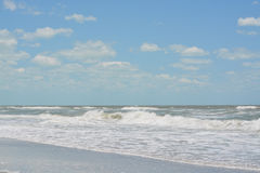 Rough surf at Indian Rocks Beach on the Gulf of Mexico in Florida. Stock Image