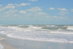Rough surf at Indian Rocks Beach on the Gulf of Mexico in Florida. Royalty Free Stock Photography