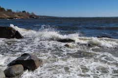 Rough surf in Penobscot Bay, Maine. View of rough surf from southern winds on Penobscot bay in Searsport Maine in the spring Royalty Free Stock Photography