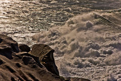 Rough surf and waves. Being whipped up by high winds during a cyclone at Bondi Beach in Sydney, Australia Stock Photo