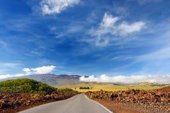 Rough surface of frozen lava after Mauna Loa volcano eruption on Big Island, Hawaii. USA Stock Photography