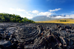Rough surface of frozen lava after Mauna Loa volcano eruption on Big Island, Hawaii Royalty Free Stock Photography