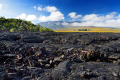 Rough surface of frozen lava after Mauna Loa volcano eruption on Big Island, Hawaii Stock Photo