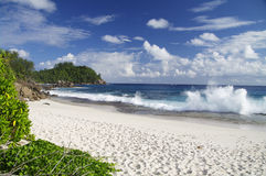 Rough swell at anse Bazarca, Seychelles Stock Images